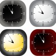 Four square clocks isolated on white — Stock Vector