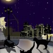 Three cats in night town — Stock Vector