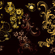 Set of golden and brown floral elements — Stock Vector #12356946