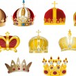 Stock Vector: Nine gold crowns isolated on white
