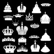 Crown set isolated on black — Stock Vector