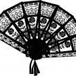 Decorated black fan isolated on white - Image vectorielle