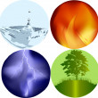 Stock Vector: Four elements icons