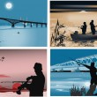 Four illustrations with fishermen at night — Stock Vector #12357232