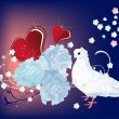 Royalty-Free Stock Vector Image: Dove, flowers and red hearts