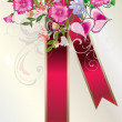 Flower decoration and red ribbon — Stock Vector