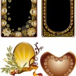 Four floral golden frames design — Image vectorielle