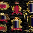 Set of decorated golden curled frames with crowns — Stock Vector #12357534