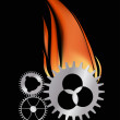Stock Vector: Three gears in flame