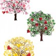 Stock Vector: Hree heart trees isolated on white