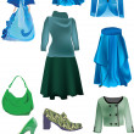 Blue nad green woman dress — Stock Vector