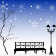 Tree and bench under snowflakes — Stock Vector #12357791