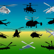 Stock Vector: Set of thirteen helicopters