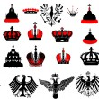 Stock Vector: Large set of red and black heraldic symbols