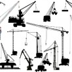 Fifteen building cranes on white — Stock Vector #12358129