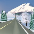 Road to snow mountain illustration — Imagens vectoriais em stock