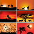 Stock Vector: Set of six animals at sunset compositions