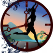 Clock and running girl illustration - Stockvectorbeeld