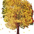 Golden fall tree isolated on white - Stockvectorbeeld