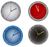 Four color clocks isolated on white — Stock Vector