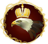 Eagle with crown in gold frame — Stock Vector