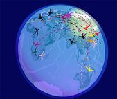 Létání letadla nad zeměkoule — Stock vektor
