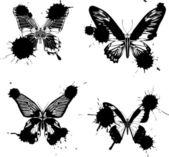 Quattro farfalle nere, macchie — Vettoriale Stock