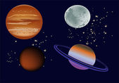 Four planets in space — Stock Vector
