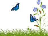 Blue butterflies and flowers in green grass — Stock Vector