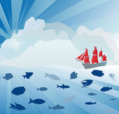 船舶和在蓝色的大海中的鱼 — 图库矢量图片
