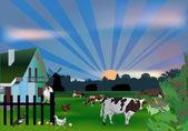 Mucche e uccelli vicino casa — Vettoriale Stock