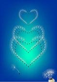 Heart from dandelion seeds — Stock Vector