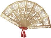 Beyaz izole kahverengi dekore edilmiş fan — Stok Vektör