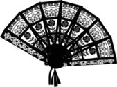 Decorated black fan isolated on white — Stockvector