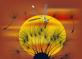 Dragonfly and dandelion at sunset — Stockvector