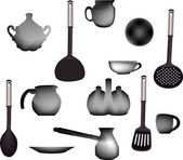 Set of gray ware — Stock Vector