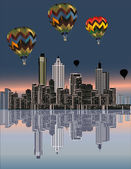 Balloons above modern city — Stock Vector