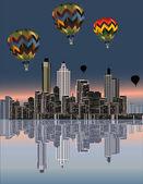 Balloons above modern city — Stock Vector