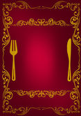 Gold on red decorated menu — Stock Vector
