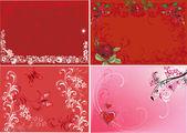 Vier rode bloemen achtergronden illustratie — Stockvector