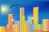 Flying birds above rainbow color city — Stock Vector