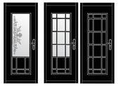 Three black doors on white — Cтоковый вектор