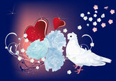 Dove, flowers and red hearts — Stock Vector