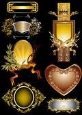 Conception de sept cadres dorés — Vecteur