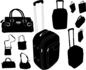 Handbags and suitcases collection — Stock Vector