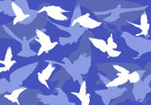 Blue background with doves — Stock Vector
