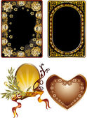 Four floral golden frames design — Stock Vector