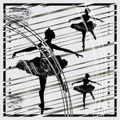 Three black ballet dancers — Stock Vector