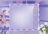 Frame with lilac and white flowers — Stock Vector
