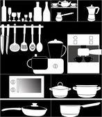 Kitchen utensil on black background — Stock Vector
